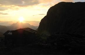 Der Sonnenaufgang vom Ingolstädter Haus aus