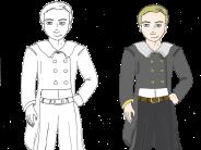 Meisterdieb »Ninus«: Von der Strichzeichnung bis hin zum fertig kolorierten Modell. Figurenzeichnung: Andrea Schagalkowitsch