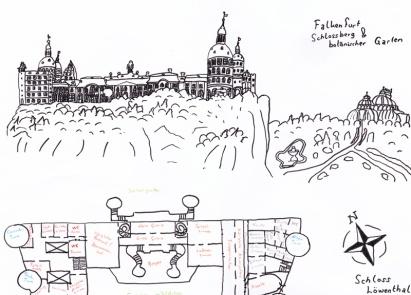 Konzeptzeichnung und Lageplan »Schloss Löwenthal«: Das Schloss inmitten der Hauptstadt und gleichzeitiges Einbruchsziel der Diebe und des Prinzen.