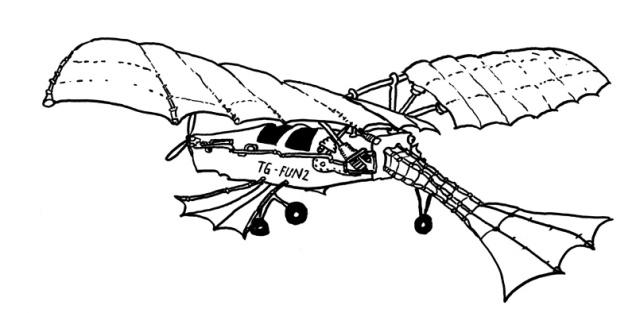 Konzeptzeichnung »Flattergleiter«: Die Ocean Cloud verfügt über keinen Brdhubschrauber, aber dieses Fluggerät ist ein adäquater Ersatz. So kann auch er senkrecht starten und landen.