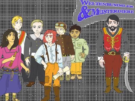Die Diebesbande (links) und der neue trigonische Präsident »Rasputin« (rechts) Zeichnungen: Andrea Schagalkowitsch